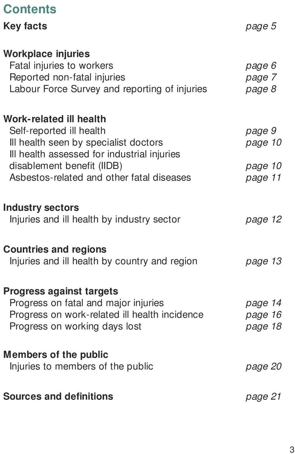 fatal diseases page 9 page 10 page 10 page 11 Industry sectors Injuries and ill health by industry sector page 12 Countries and regions Injuries and ill health by country and region page 13 Progress