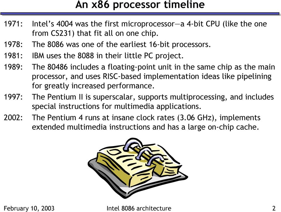 1989: The 80486 includes a floating-point unit in the same chip as the main processor, and uses RISC-based implementation ideas like pipelining for greatly increased performance.