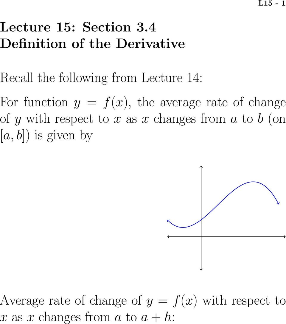 function y = f(x), the average rate of change of y with respect to x as x