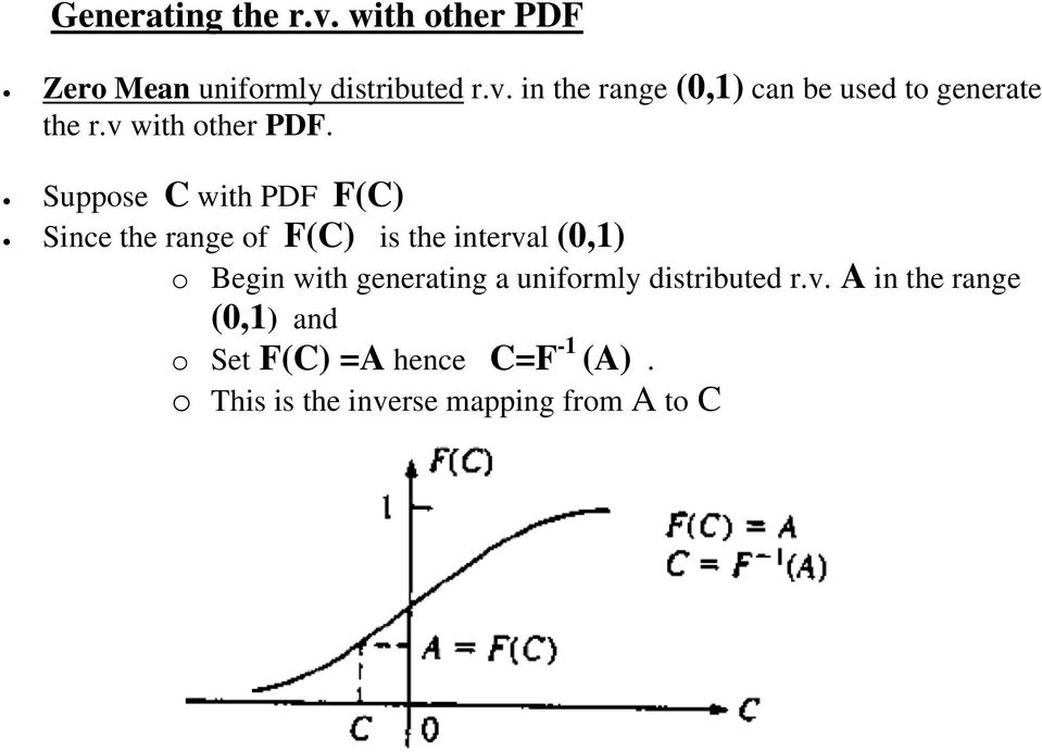 Suppose C with PDF F(C) Since the range of F(C) is the interval (0,1) o Begin with