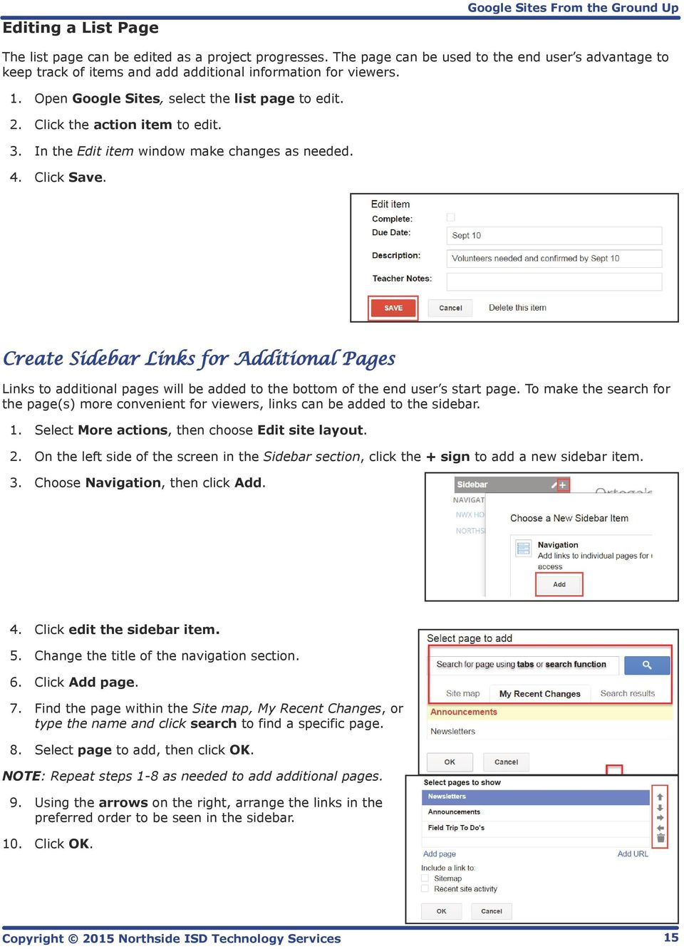 Create Sidebar Links for Additional Pages Links to additional pages will be added to the bottom of the end user s start page.