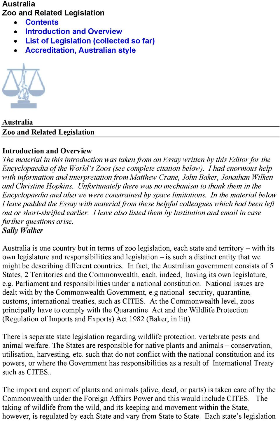 Australia Zoo and Related Legislation Contents Introduction and