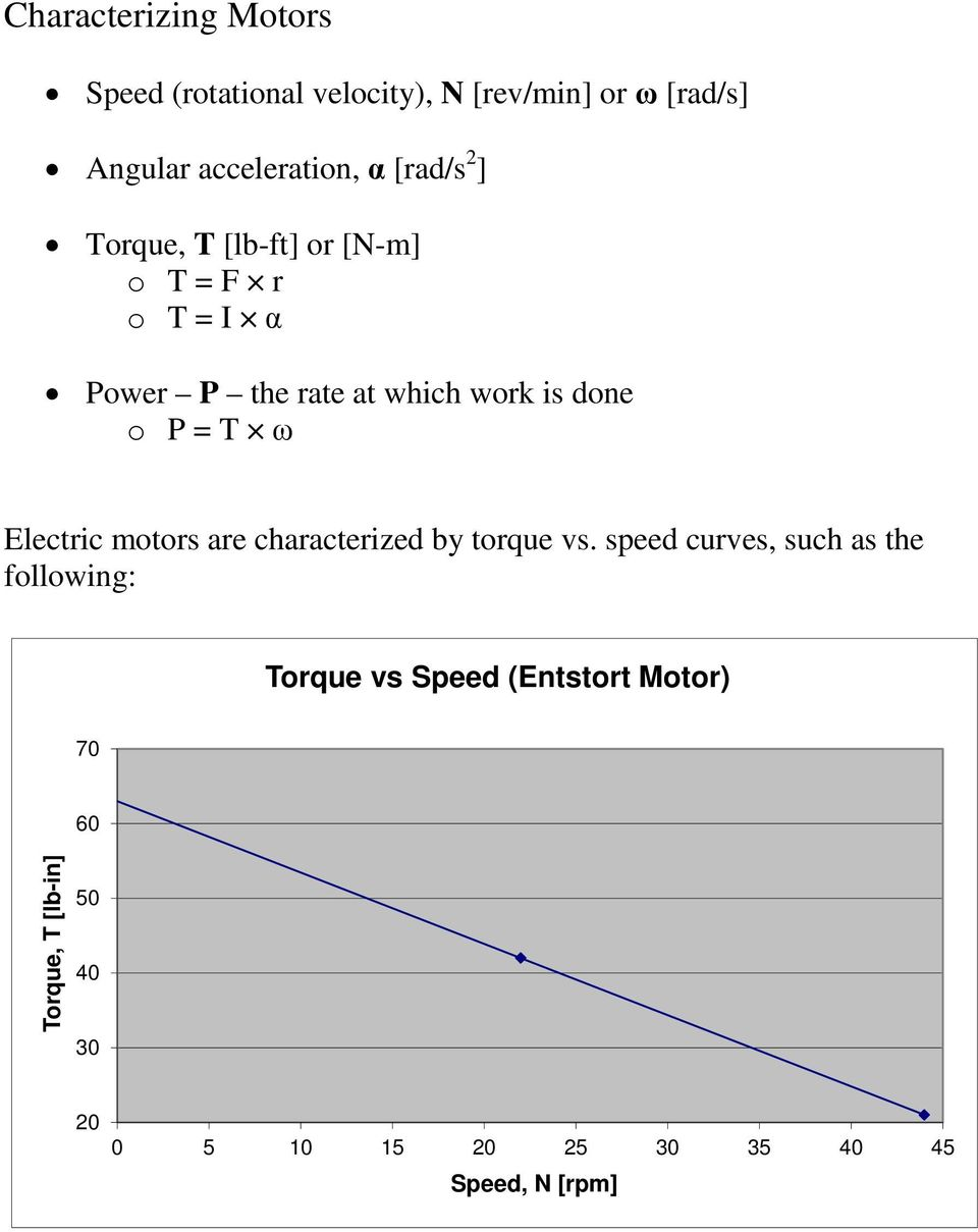 = T ω Electric motors are characterized by torque vs.