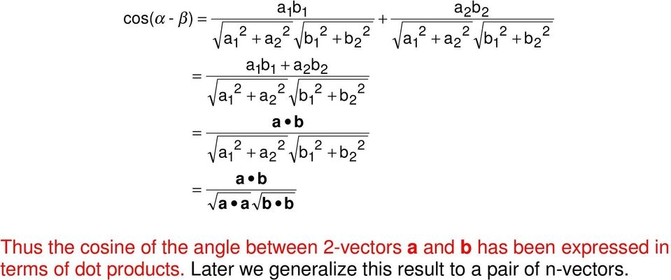 2 2 1 2 2 2 Thus the cosine of the angle between 2-vectors a and b has been