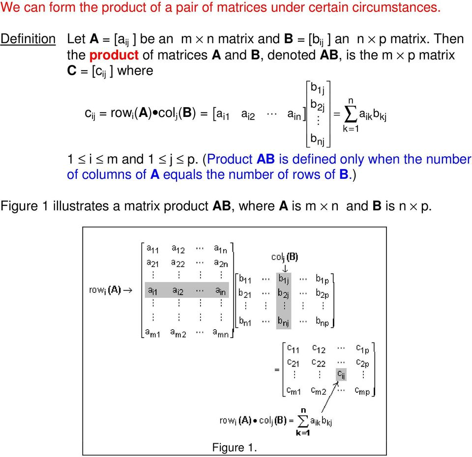 Then the product of matrices A and B, denoted AB, is the m p matrix C = [c ij ] where c ij = row i (A) col j (B) = a a a i1 i2