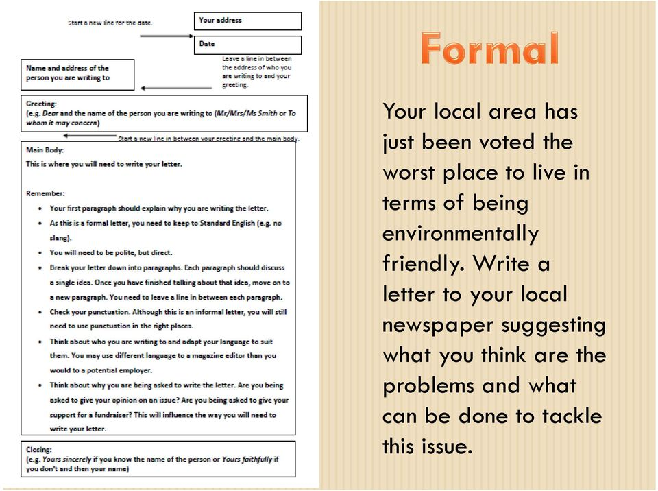 Write a letter to your local newspaper suggesting what