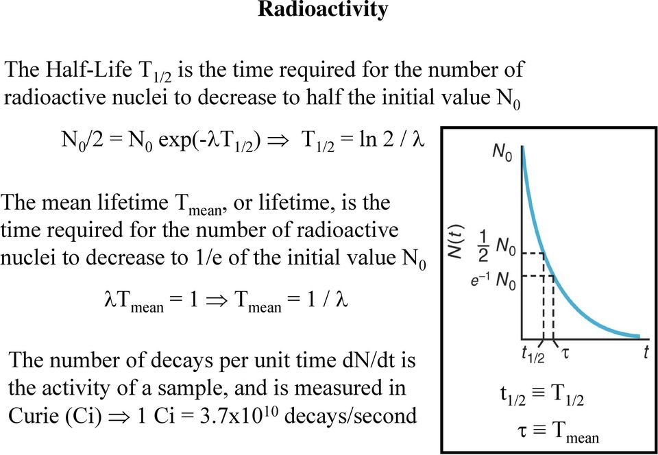 number of radioactive nuclei to decrease to 1/e of the initial value N 0 λt mean = 1 T mean = 1 / λ The number of decays per