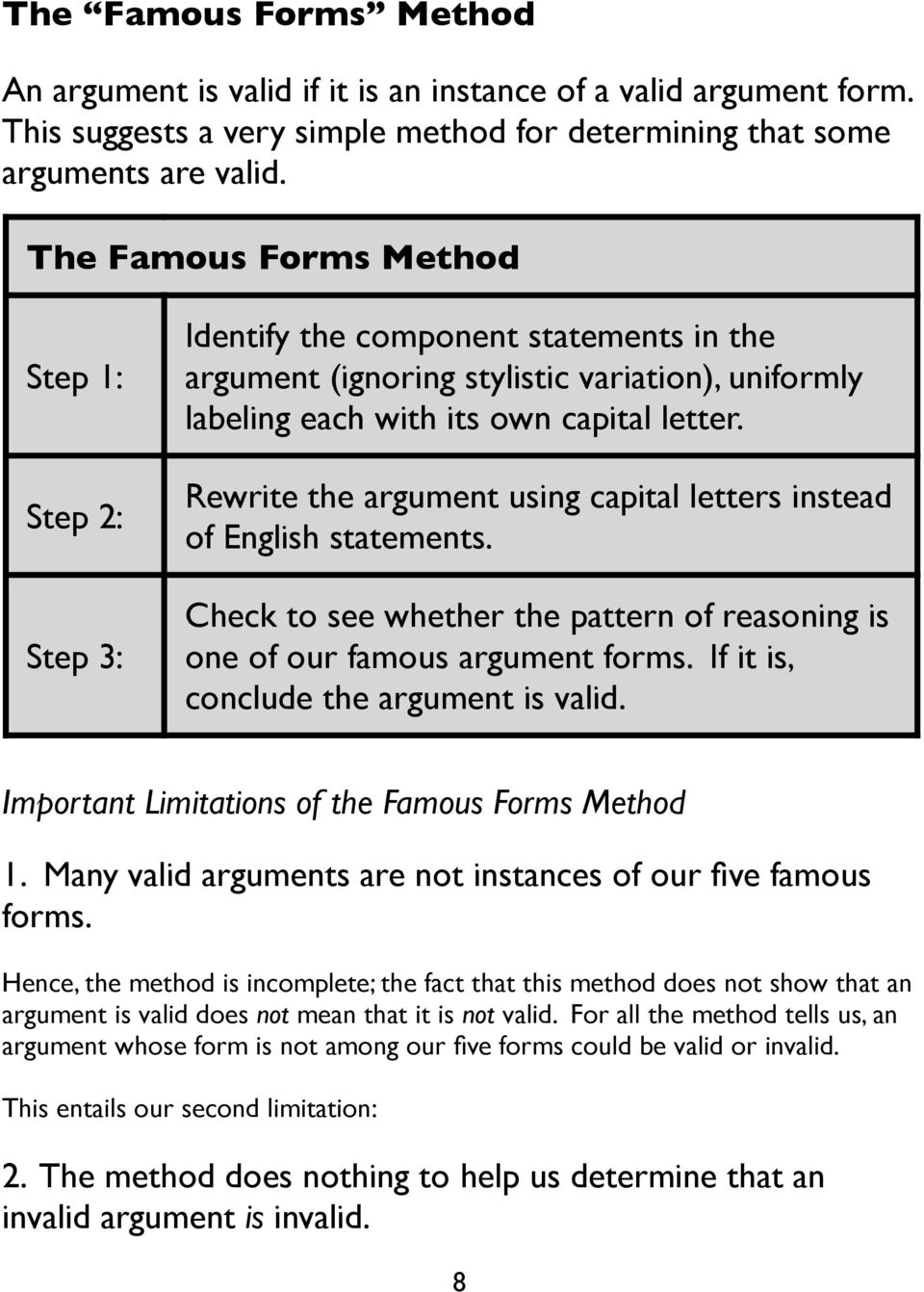 Rewrite the argument using capital letters instead of English statements. Check to see whether the pattern of reasoning is one of our famous argument forms. If it is, conclude the argument is valid.