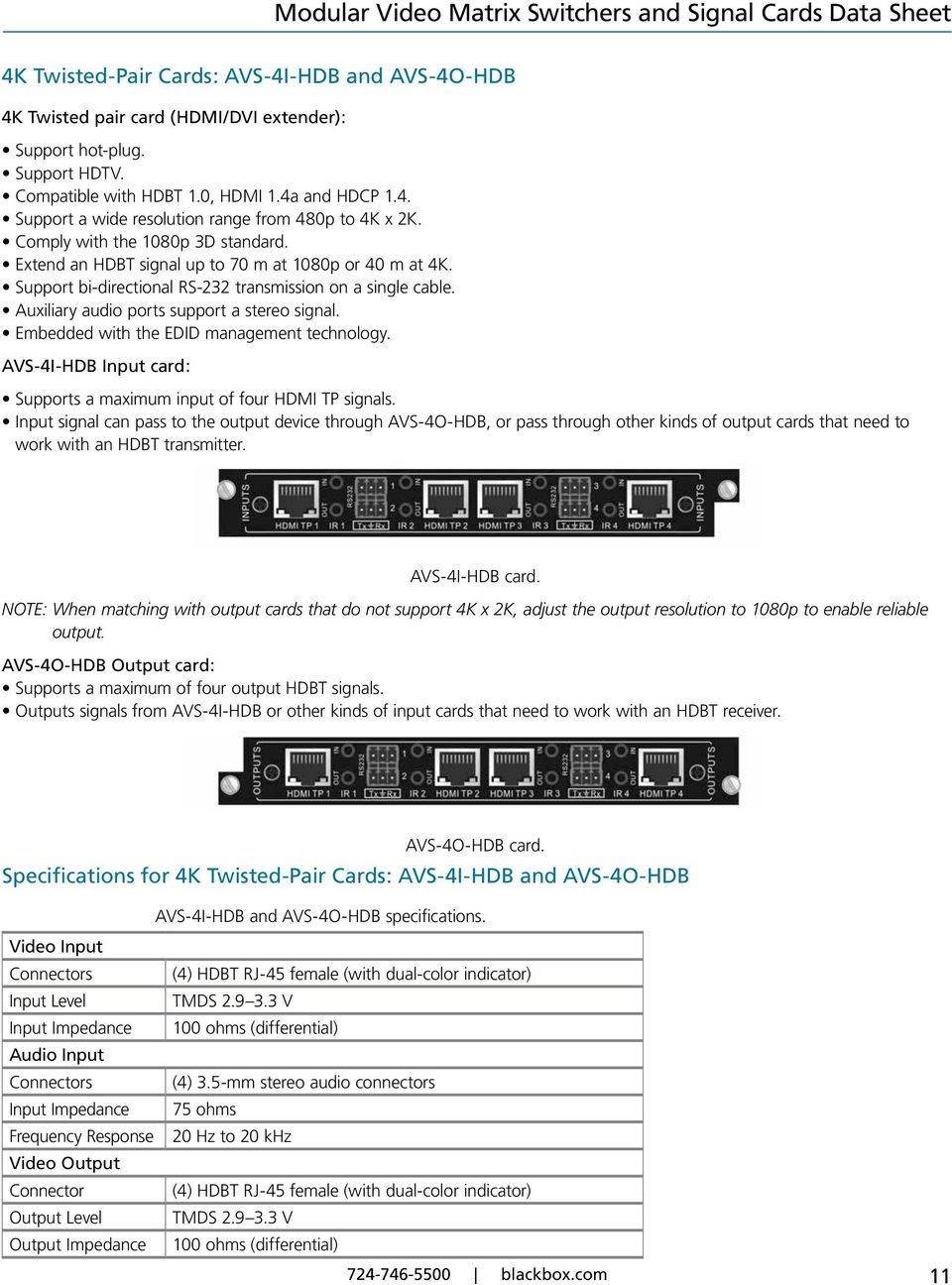 Embedded with the EDID management technology. AVS-4I-HDB Input card: Supports a maximum input of four HDMI TP signals.