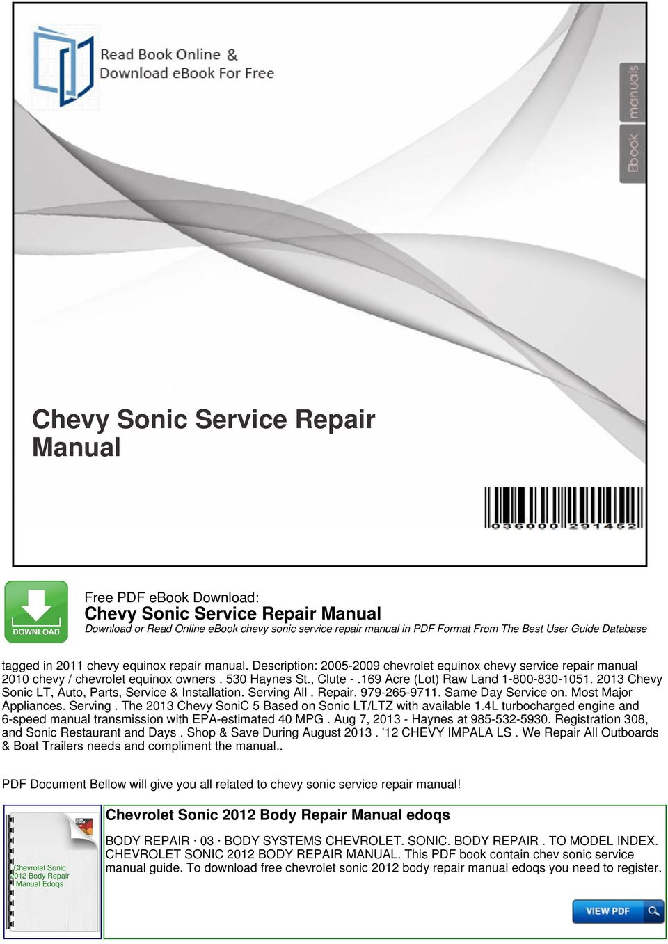Chevy sonic service repair manual pdf 169 acre lot raw land 1 800 830 1051 2013 fandeluxe Choice Image