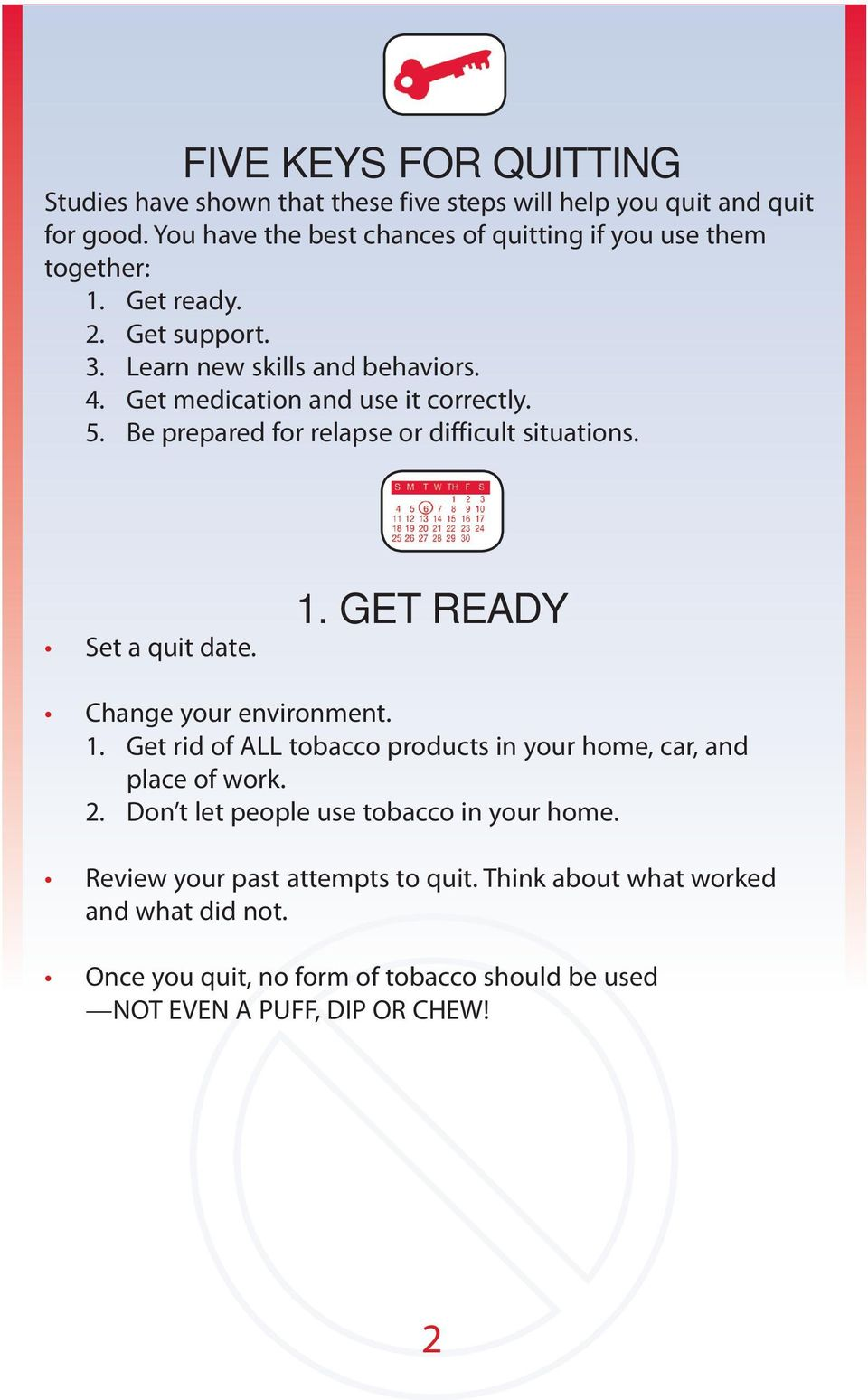 Get medication and use it correctly. 5. Be prepared for relapse or difficult situations. Set a quit date. 1.
