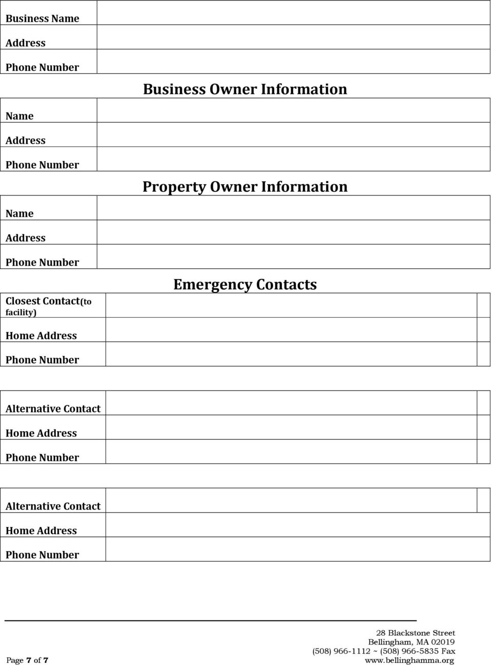 Contact(to facility) Emergency Contacts Home Address