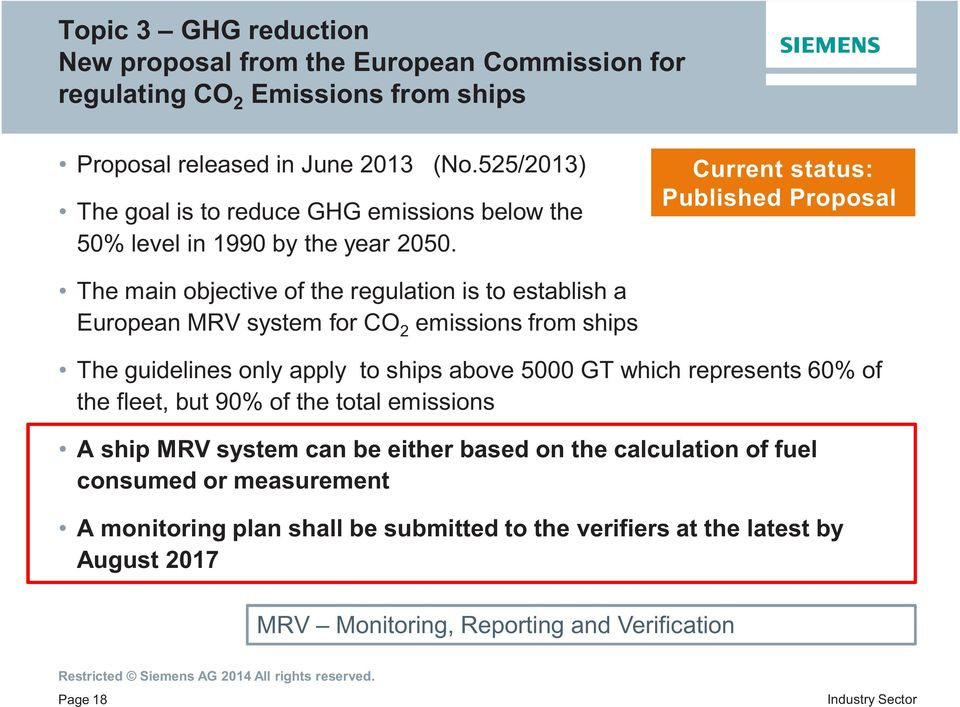 Current status: Published Proposal The main objective of the regulation is to establish a European MRV system for CO 2 emissions from ships The guidelines only apply to ships