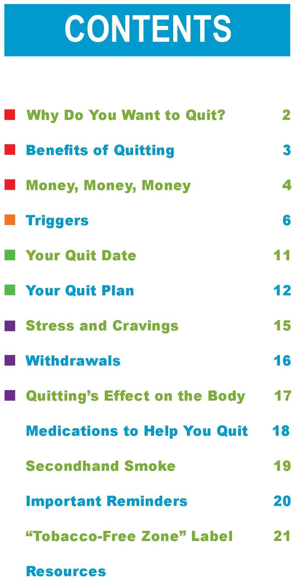 Your Quit Plan 12 Stress and Cravings 15 Withdrawals 16 Quitting s Effect on