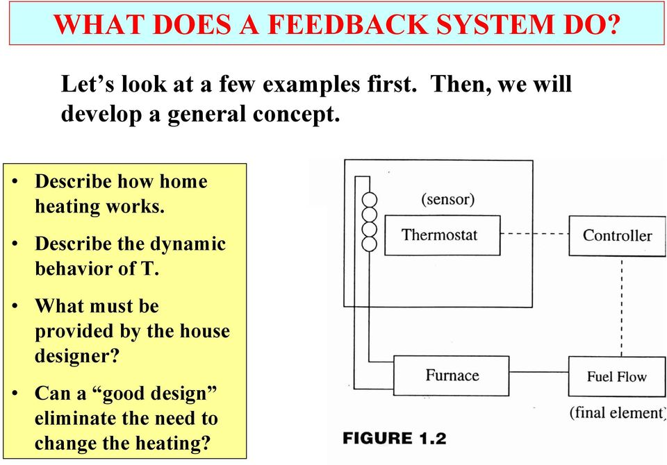 Describe how home heating works. Describe the dynamic behavior of T.