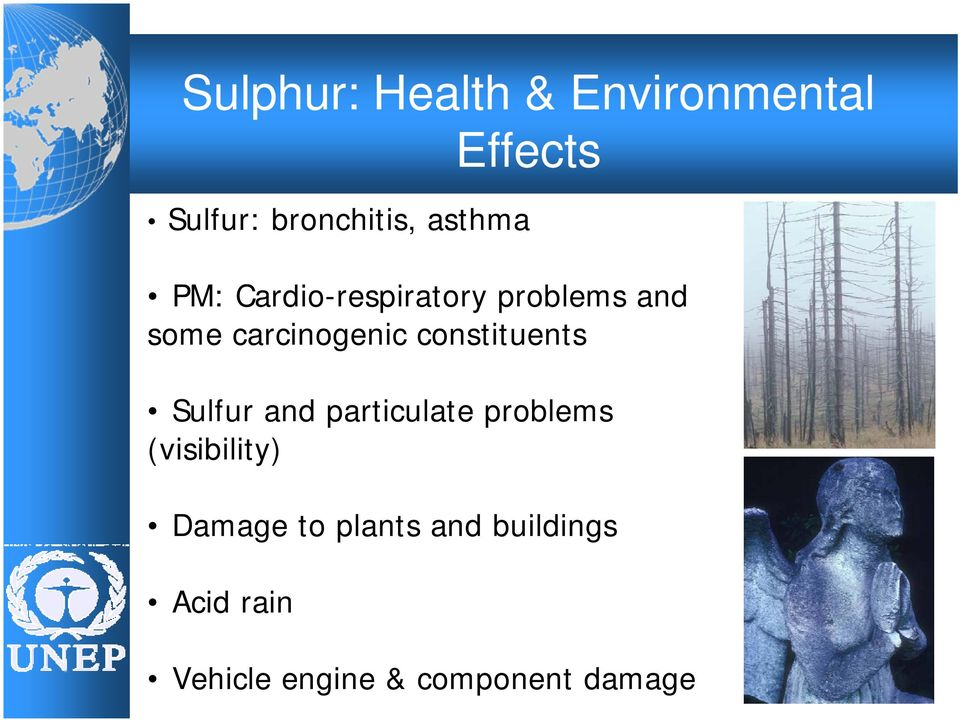 constituents Sulfur and particulate problems (visibility)