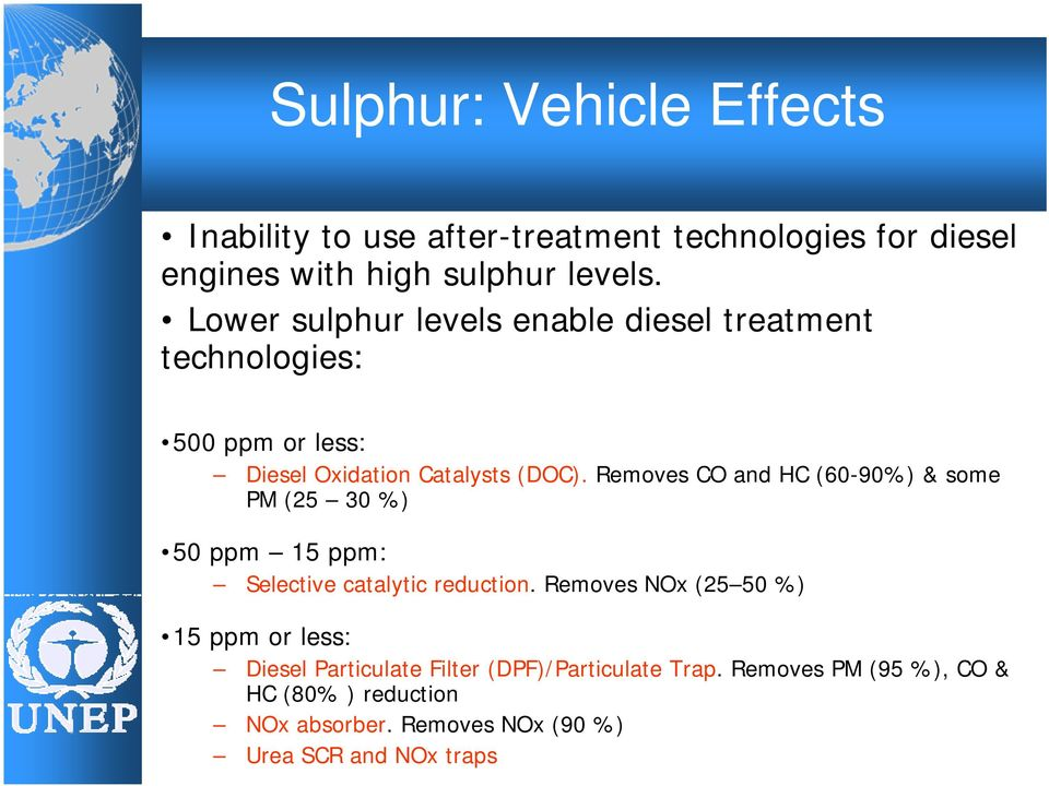 Removes CO and HC (60-90%) & some PM (25 30 %) 50 ppm 15 ppm: Selective catalytic reduction.