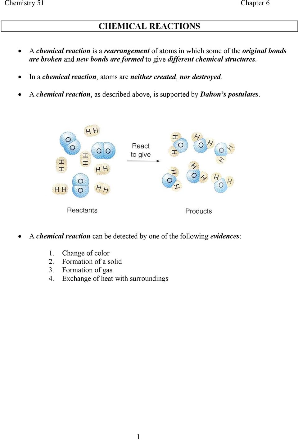 A chemical reaction, as described above, is supported by Dalton s postulates.