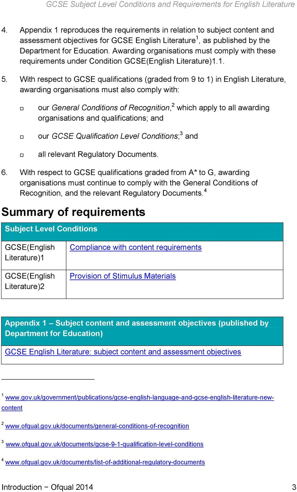 Awarding organisations must comply with these requirements under Condition GCSE(English Literature)1.1. 5.