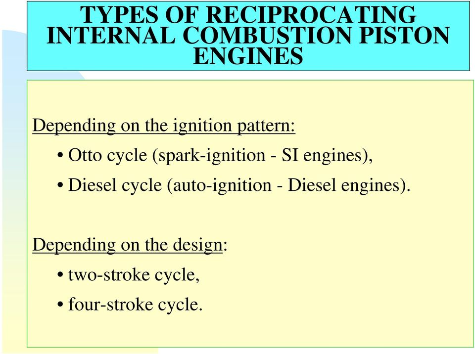 (spark-ignition - SI engines), Diesel cycle (auto-ignition -