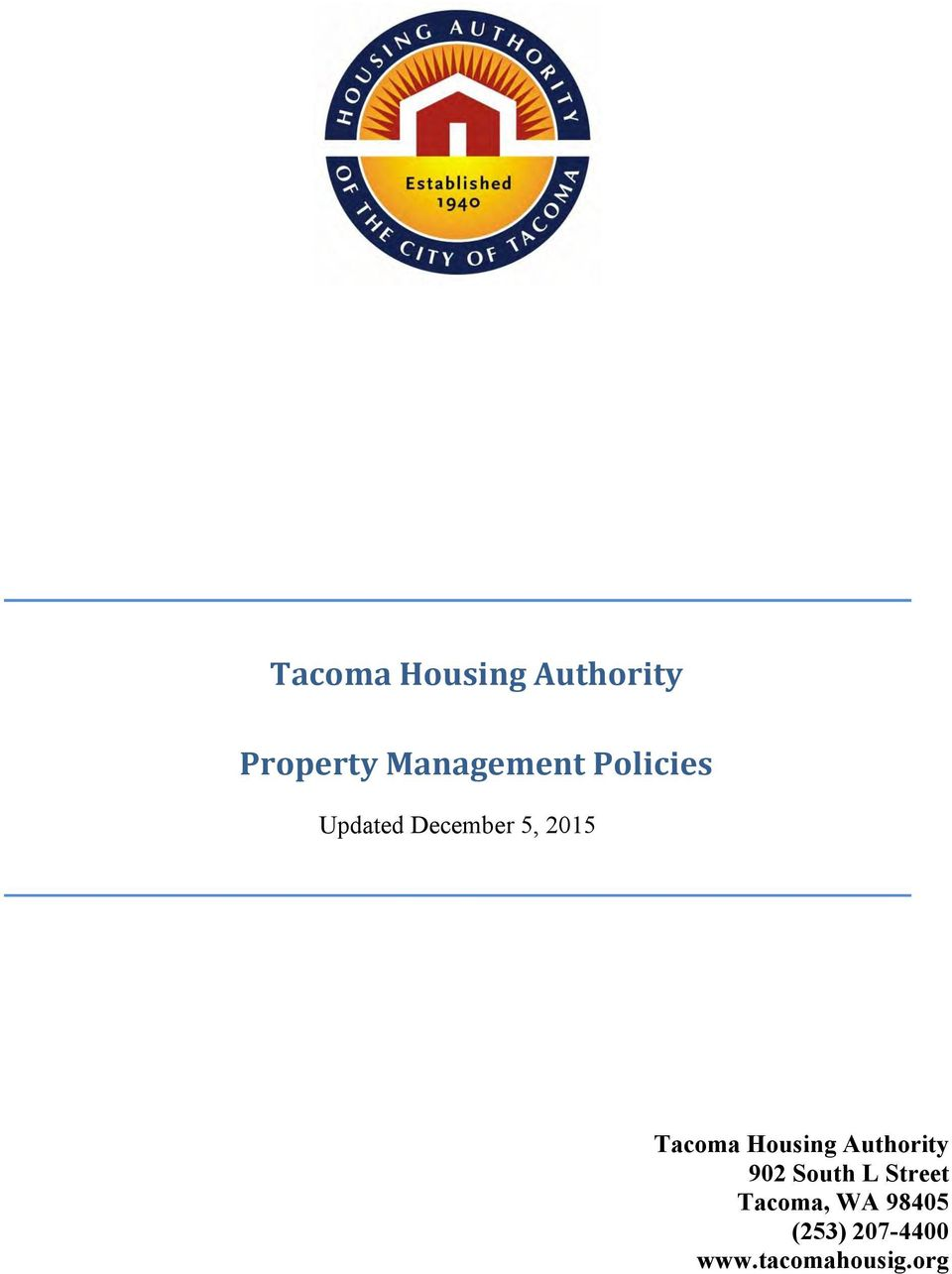 2015 Tacoma Housing Authority 902 South L