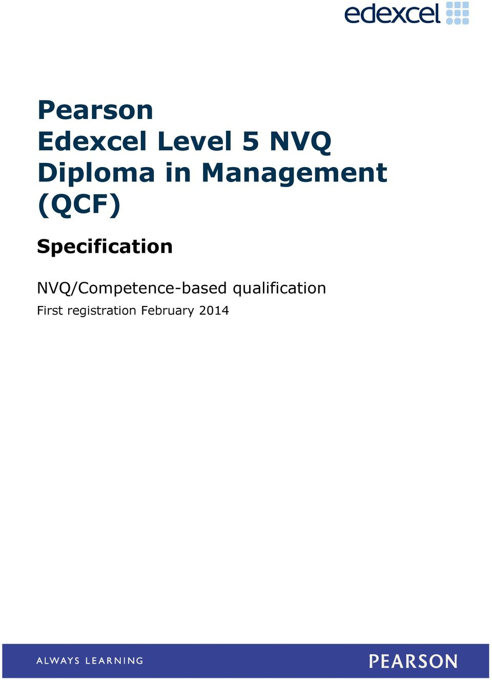 Specification NVQ/Competence-based