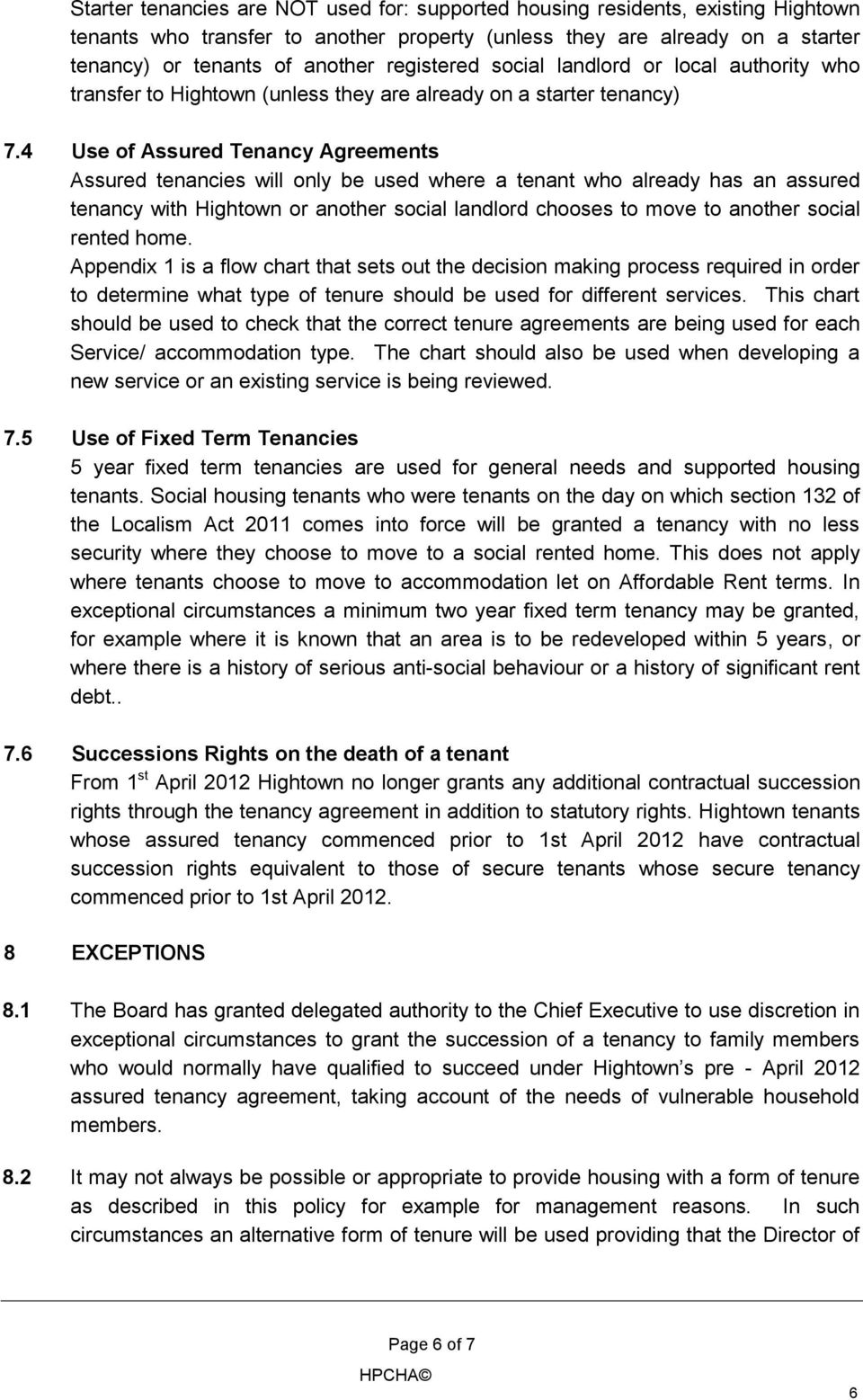 Tenure And Tenancy Management Issue 06 Board Approved February