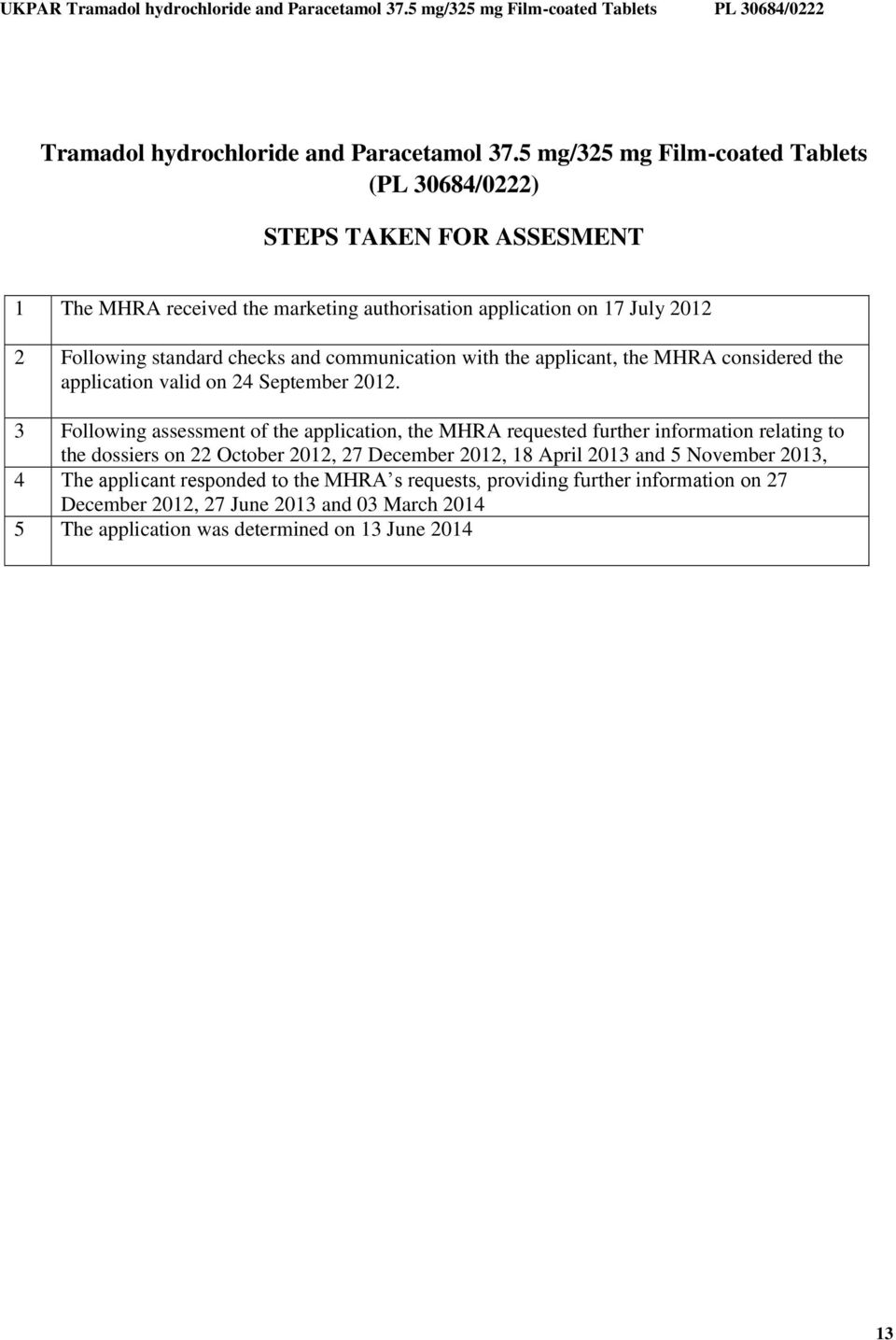 checks and communication with the applicant, the MHRA considered the application valid on 24 September 2012.