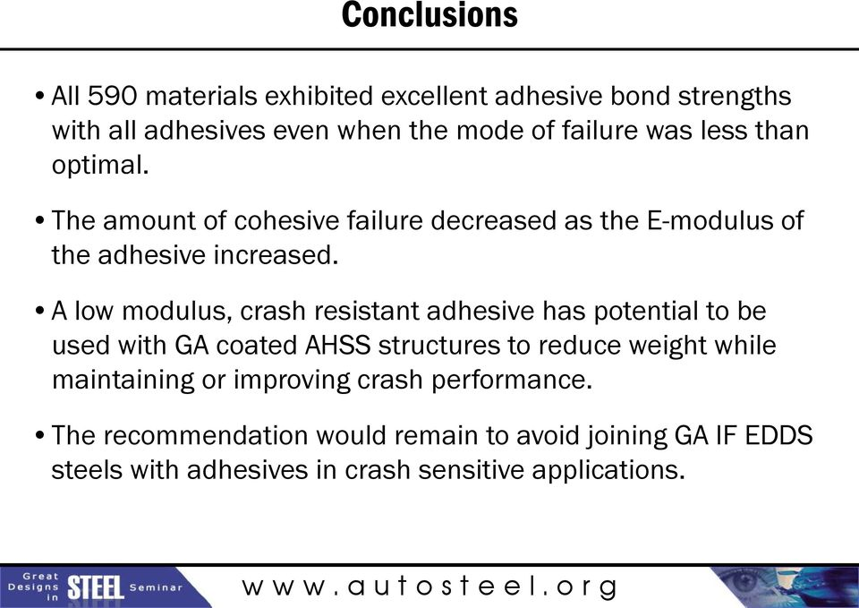 A low modulus, crash resistant adhesive has potential to be used with GA coated AHSS structures to reduce weight while