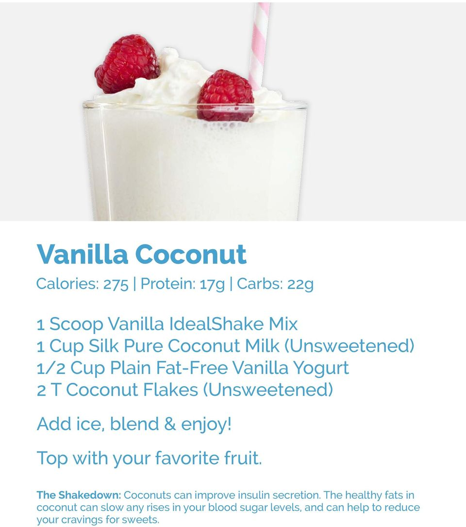 with your favorite fruit. The Shakedown: Coconuts can improve insulin secretion.