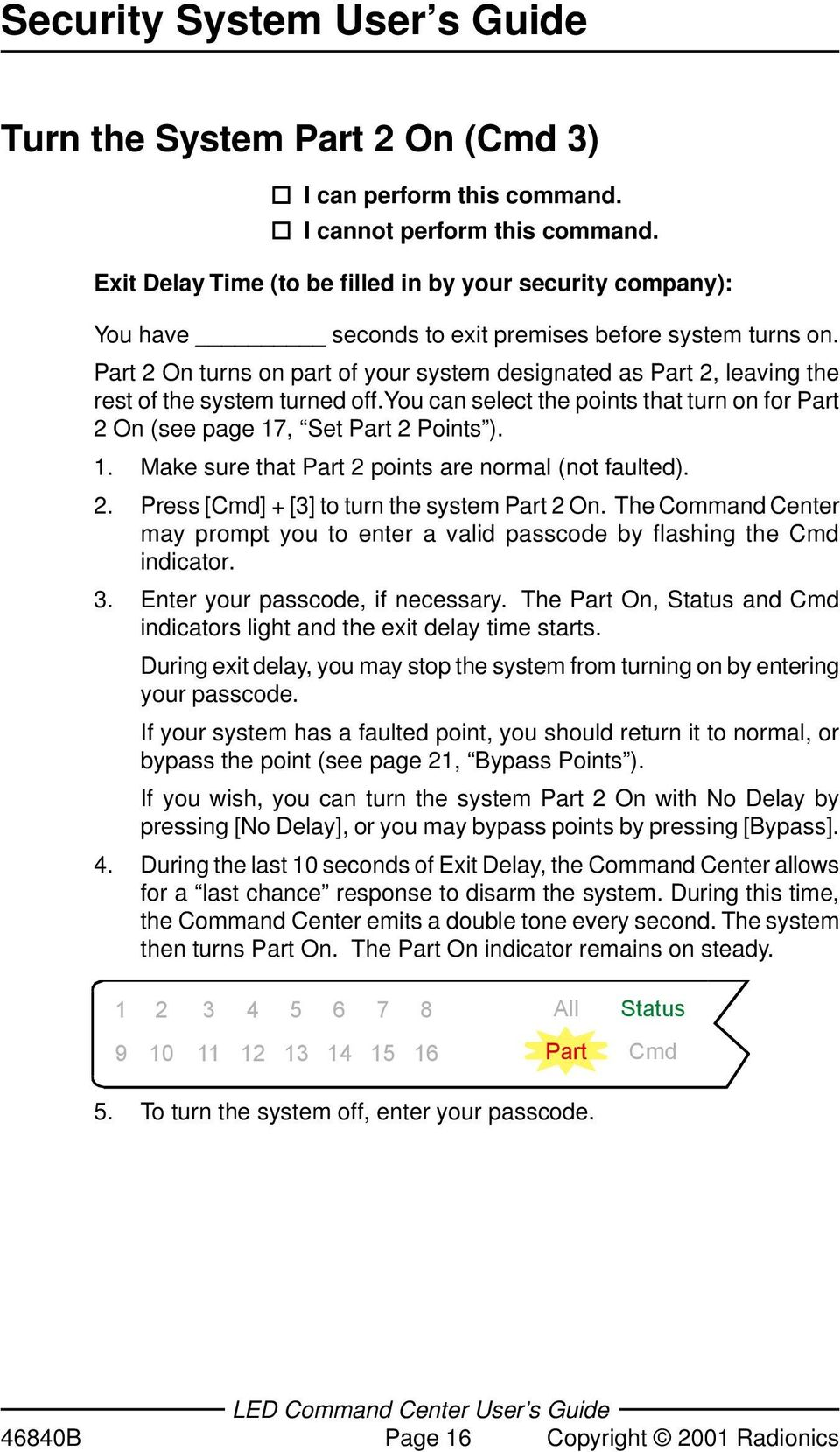 , Set Part 2 Points ). 1. Make sure that Part 2 points are normal (not faulted). 2. Press [Cmd] + [3] to turn the system Part 2 On.