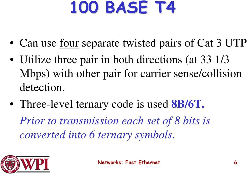 sense/collision detection. Three-level ternary code is used 8B/6T.