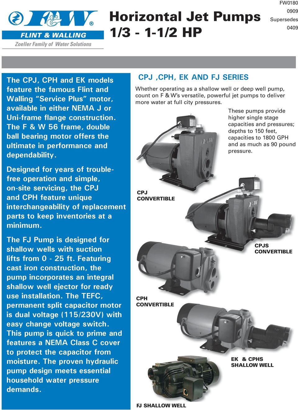 Designed for years of troublefree operation and simple, on-site servicing, the CPJ and CPH feature unique interchangeability of replacement parts to keep inventories at a minimum.