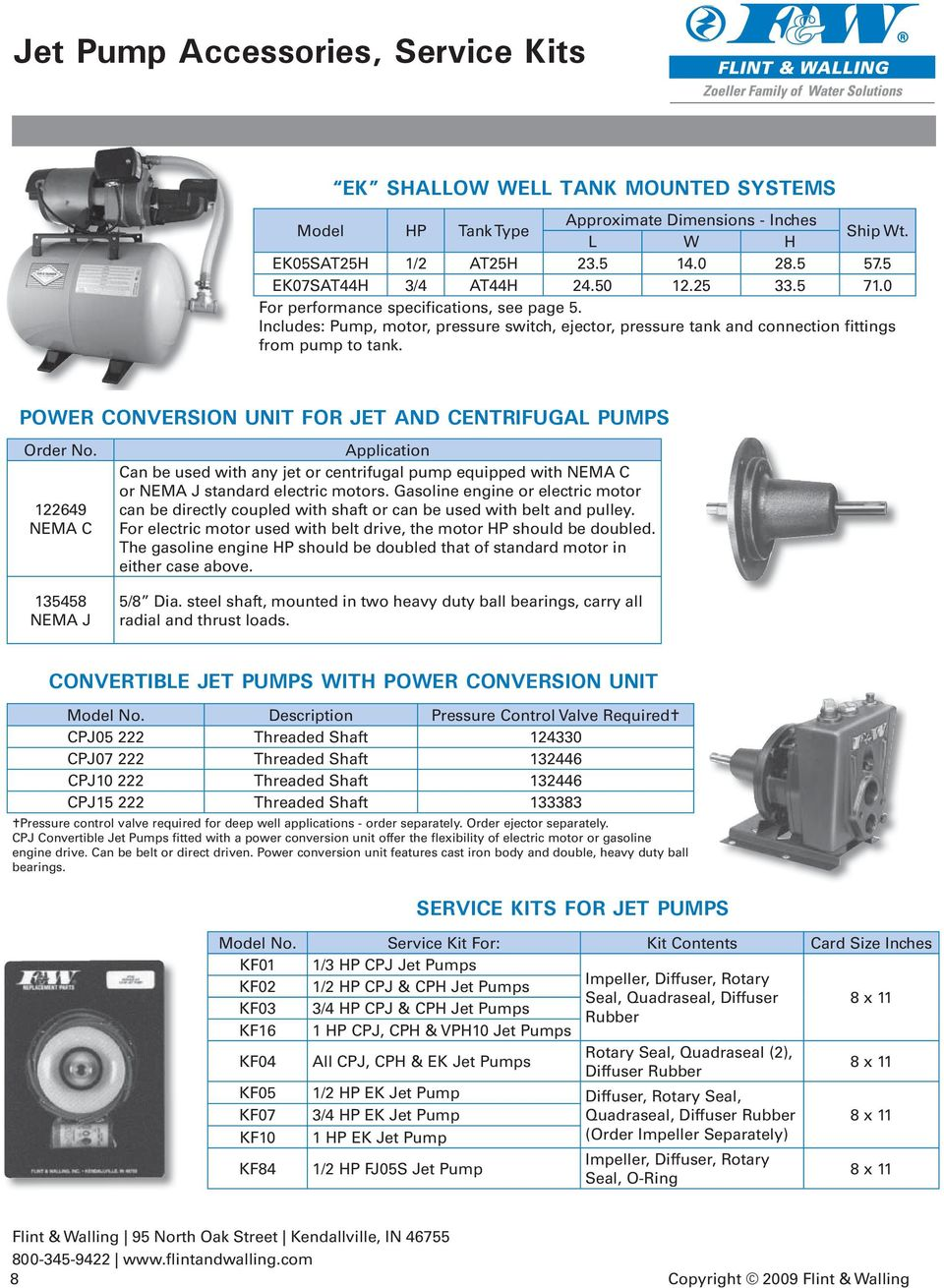 POWER CONVERSION UNIT FOR JET AND CENTRIFUGAL PUMPS Order No.