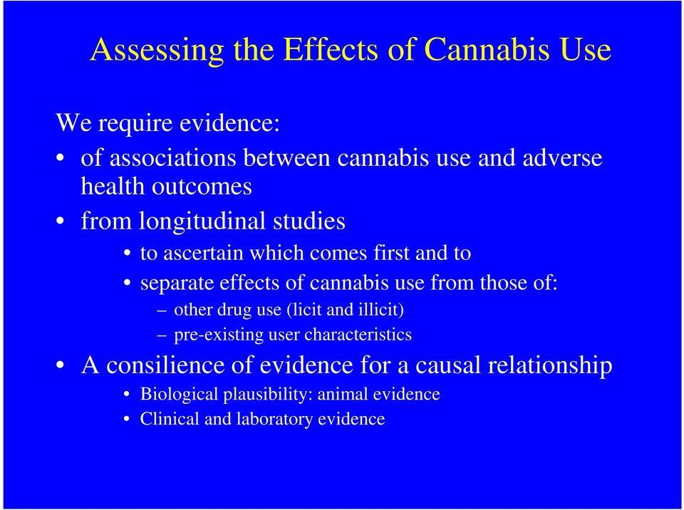 cannabis use from those of: other drug use (licit and illicit) pre-existing user characteristics A