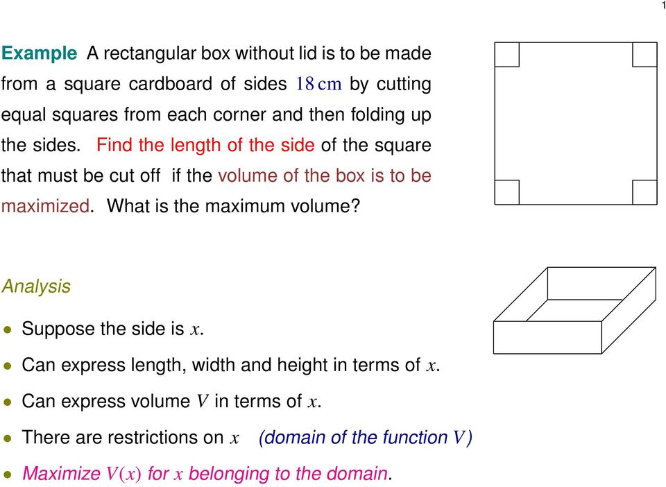 Find the length of the side of the squre tht must be cut off if the volume of the box is to be mximized.
