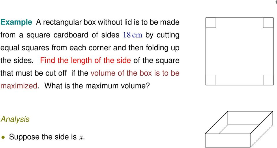 Find the length of the side of the squre tht must be cut off if the volume of