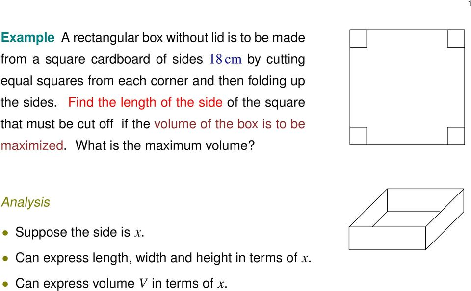 Find the length of the side of the squre tht must be cut off if the volume of the box is to be