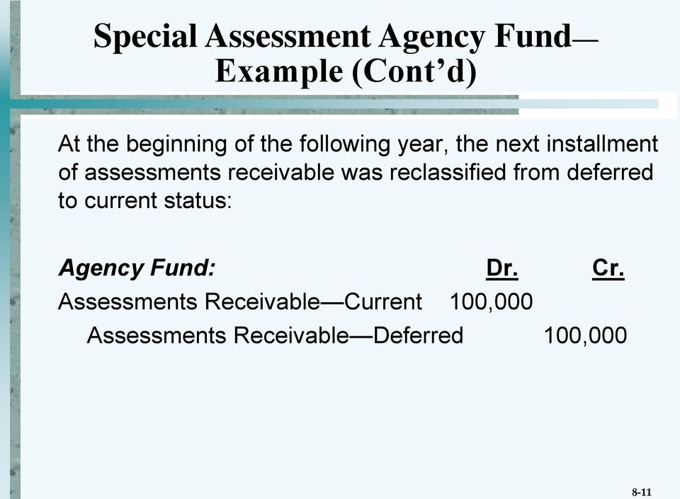 reclassified from deferred to current status: Agency Fund: Dr. Cr.