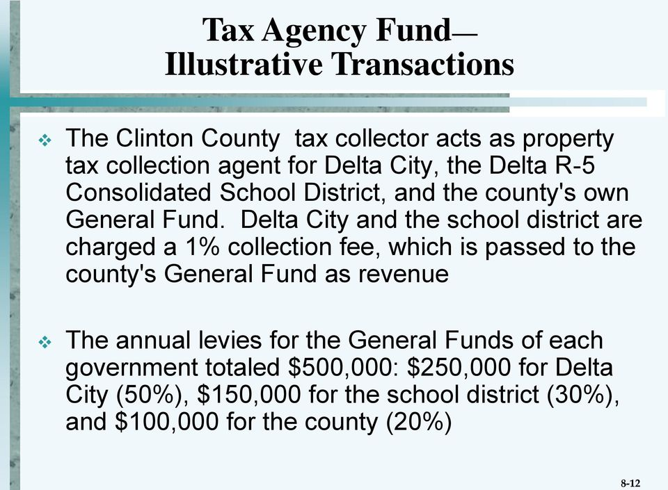 Delta City and the school district are charged a 1% collection fee, which is passed to the county's General Fund as revenue The