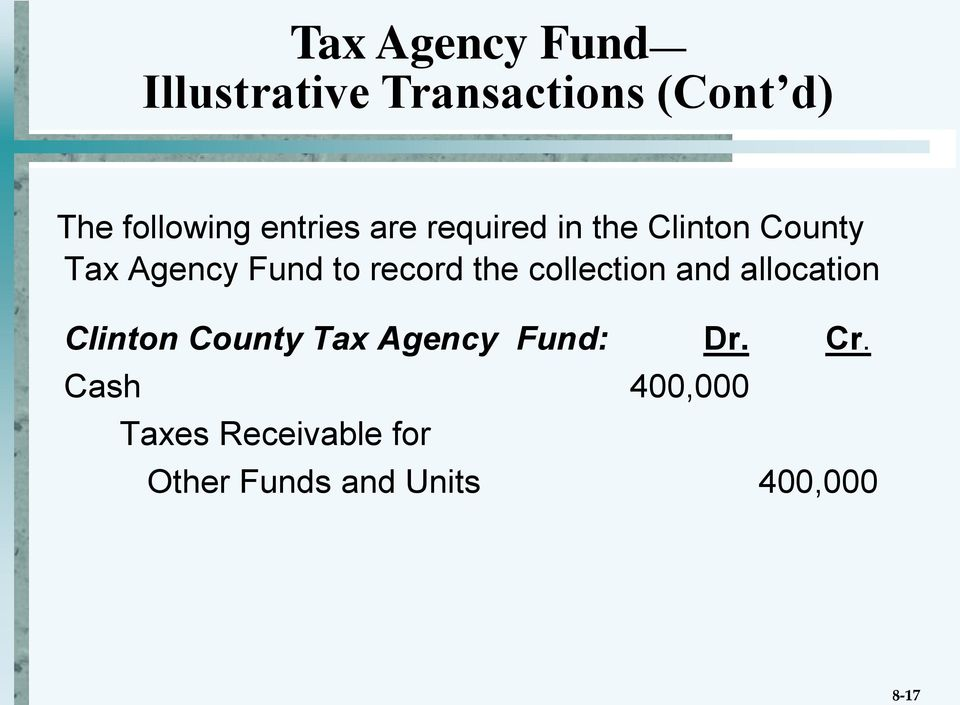 record the collection and allocation Clinton County Tax Agency