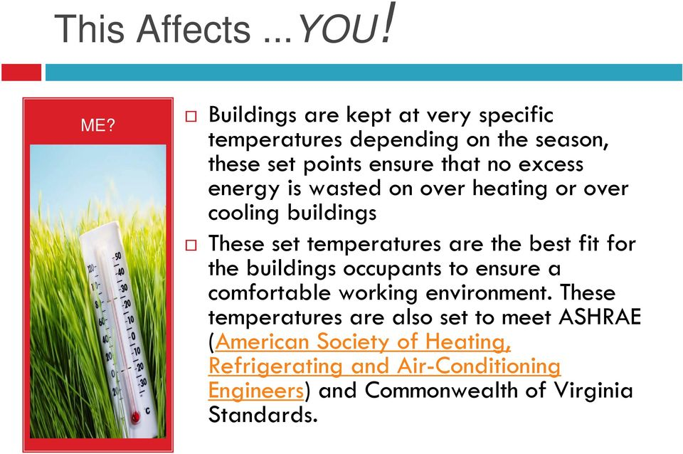 energy is wasted on over heating or over cooling buildings These set temperatures are the best fit for the buildings