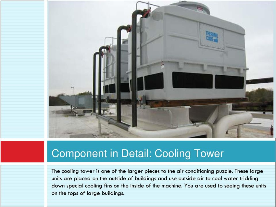 These large units are placed on the outside of buildings and use outside air to