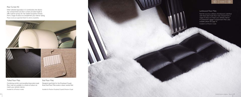 Lambswool Floor Mats Feel the luxurious softness of lambswool underfoot with these tailor-made floor mats. Choose from a range of colours to match your vehicle s interior.