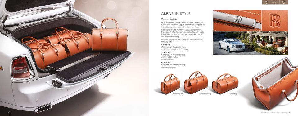 Nestling neatly into Phantom s luggage compartment, this practical, yet stylish range comes finished with subtle Rolls-Royce detailing, including monogrammed catches and embroidered lining.