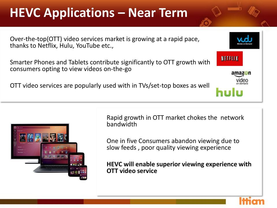 services are popularly used with in TVs/set-top boxes as well Rapid growth in OTT market chokes the network bandwidth One in five