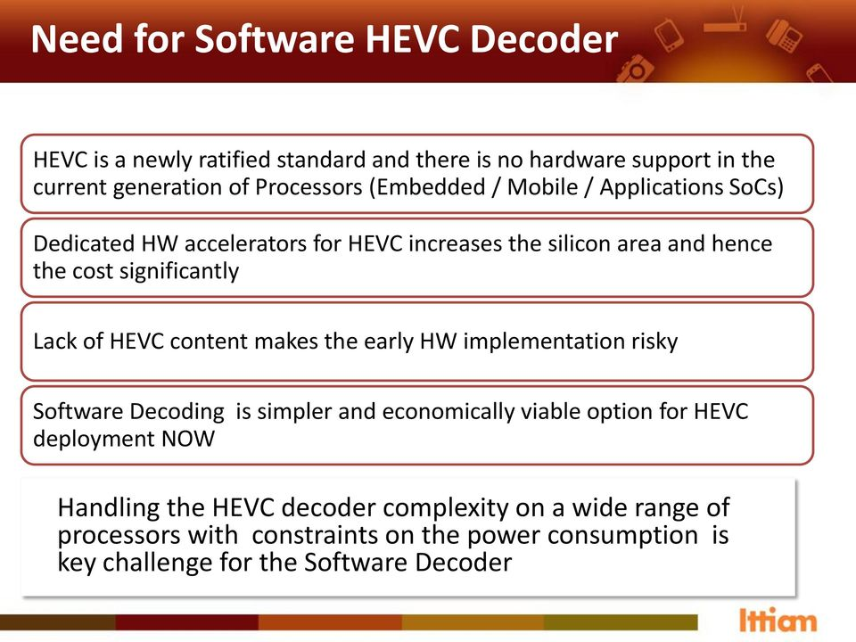 of HEVC content makes the early HW implementation risky Software Decoding is simpler and economically viable option for HEVC deployment NOW