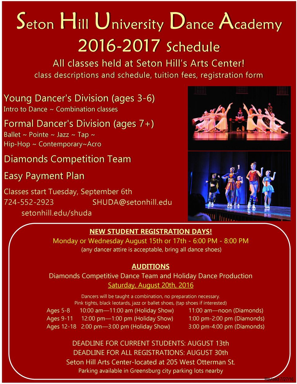Tap ~ Hip-Hop ~ Contemporary~Acro Diamonds Competition Team Easy Payment Plan Classes start Tuesday, September 6th 724-552-2923 SHUDA@setonhill.edu setonhill.edu/shuda NEW STUDENT REGISTRATION DAYS!