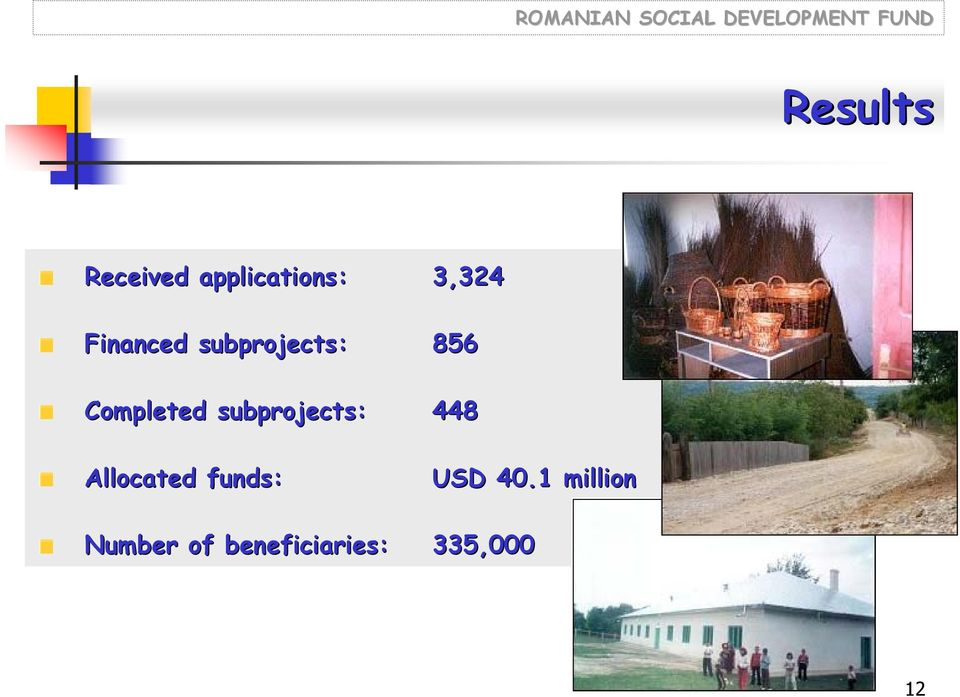subprojects: 448 Allocated funds: USD