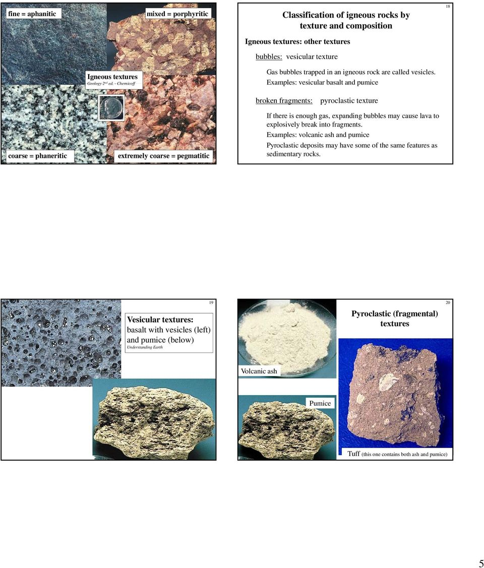 Examples: vesicular basalt and pumice broken fragments: pyroclastic texture coarse = phaneritic extremely coarse = pegmatitic If there is enough gas, expanding bubbles may cause lava to explosively